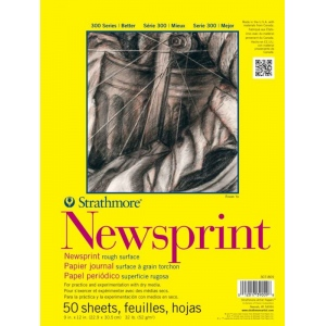 """Strathmore® 300 Series 9"""" x 12"""" Tape Bound Newsprint Pad; Binding: Tape Bound; Color: White/Ivory; Format: Pad; Quantity: 50 Sheets; Size: 9"""" x 12""""; Texture: Rough; Type: Newsprint; Weight: 32 lb; (model ST307-809), price per 50 Sheets pad"""