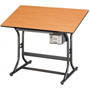 "Alvin® CraftMaster™ Jr. Art Drawing and Hobby Table Black Base with Cherry Woodgrain Top 24"" x 40""; Angle Adjustment Range: 0 - 30; Base Color: Black/Gray; Height: 30""; Material: Wood; Top Color: Brown; Top Size: 24"" x 40""; (model CM30-3-WBR), price per each"