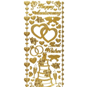 """Dazzles™ Stickers Wedding & Anniversary Gold; Color: Metallic; Size: 4"""" x 9""""; Type: Outline; (model HOTP2020), price per each"""