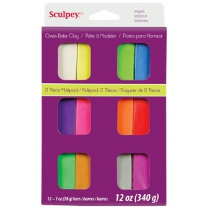Sculpey® III Polymer Clay 12-Color Bright Set; Color: Multi; Format: Bar; Material: Polymer; Size: 1 oz; Type: Oven Bake; (model S3VMB12), price per set