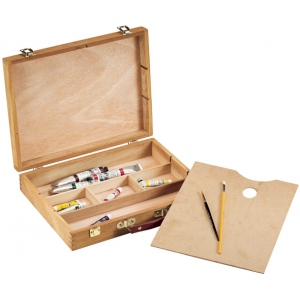 "Heritage Arts™ Palette Sketch Box Large; Color: Brown; Material: Wood; Size: 12""d x 15 1/2""w x 3 1/4""h; Type: Palette Sketch Box; (model HWB148), price per each"