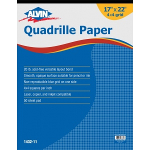 "Alvin® Quadrille Paper 4x4 Grid 50-Sheet Pad 17 x 22; Format: Pad; Grid Size/Pattern: 4"" x 4""; Quantity: 50 Sheets; Size: 17"" x 22""; Weight: 20 lb; (model 1432-11), price per 50 Sheets pad"