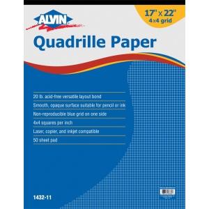 "Alvin® Quadrille Paper 4x4 Grid 50-Sheet Pad 17 x 22; Format: Pad; Grid Size/Pattern: 4"" x 4""; Quantity: 50 Sheets; Size: 17"" x 22""; Weight: 20 lb; (model 1432-11), price per 50 Sheets pad"