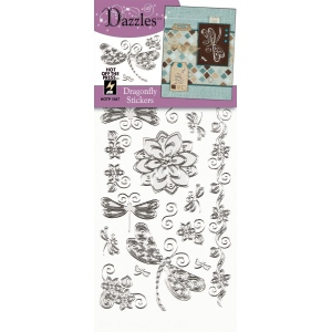 "Dazzles™ Stickers Silver Dragonfly; Color: Metallic; Size: 4"" x 9""; Type: Outline; (model HOTP1847), price per each"