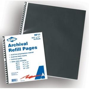 "Prestige™ Archival Protective Sleeve 8 1/2"" x 11""; Color: Black/Gray; Material: Polypropylene; Size: 8 1/2"" x 11""; (model RF11), price per pack"