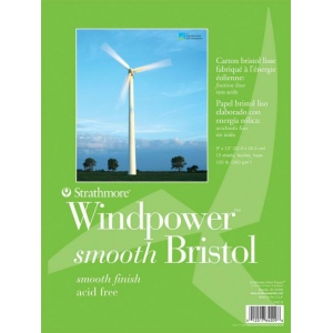 "Strathmore® Windpower™ Tape Bound Bristol Pad 9"" x 12"": Tape Bound, White/Ivory, Pad, 15 Sheets, 9"" x 12"", Smooth, 100 lb, (model ST642-9), price per 15 Sheets pad"