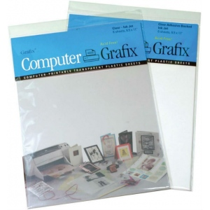 """Grafix® 8.5"""" x 11"""" Clear Adhesive Inkjet Film; Color: Clear; Format: Sheet; Quantity: 6 Sheets; Size: 8 1/2"""" x 11""""; Type: Film; (model KCAI811-6), price per 6 Sheets"""
