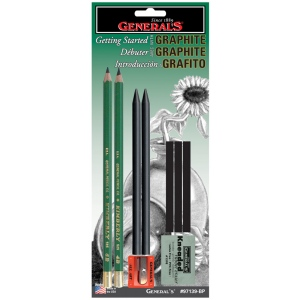General's® Getting Started™ with Graphite Set; Color: Black/Gray; Degree: 2B, 4B, 6B; Type: Drawing; (model 97139BP), price per set