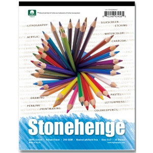 "Stonehenge® 9"" x 12"" Versatile Artist Paper Pad White; Binding: Wire Bound; Color: White/Ivory; Format: Pad; Quantity: 15 Sheets; Size: 9"" x 12""; (model L21-STP250WH912), price per 15 Sheets pad"