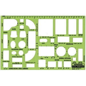 "Rapidesign® House Furnishing Template; Scale: 1/4"" = 1'; (model 714R), price per each"