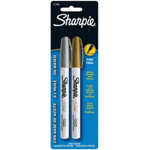 Sharpie® Oil-Based Metallic Paint Fine Marker 2-Pack; Color: Metallic; Ink Type: Paint; Tip Type: Fine Nib; (model SN37368), price per pack