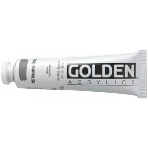 Golden® Heavy Body Acrylic 2 oz. Neutral Gray 5; Color: Black/Gray; Format: Tube; Size: 2 oz, 59 ml; Type: Acrylic; (model 0001445-2), price per tube