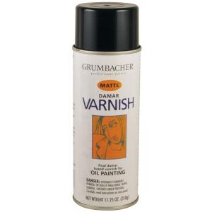 Grumbacher® Damar Matte Varnish Spray for Oils 11.25oz; Finish: Matte; Format: Spray Can; Size: 11.25 oz; Type: Oil, Varnish; (model GB533), price per each