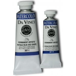 Da Vinci Artists' Watercolor Paint 37ml Phthalo Blue Red Shade: Blue, Tube, 37 ml, Watercolor, (model DAV267-1), price per tube