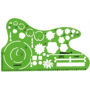 "Alvin® Landscape Design Template; Scale: 1/4"" = 1'; (model TD5351), price per each"