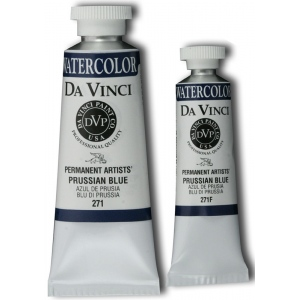 Da Vinci Artists' Watercolor Paint 37ml Prussian Blue; Color: Blue; Format: Tube; Size: 37 ml; Type: Watercolor; (model DAV271), price per tube