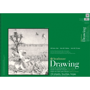 "Strathmore® 400 Series 18"" x 24"" Wire Bound Recycled Drawing Pad: Wire Bound, White/Ivory, Pad, 24 Sheets, 18"" x 24"", Medium, Recycled Drawing, 80 lb, (model ST443-18), price per 24 Sheets pad"