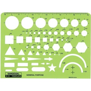 "Rapidesign® General Purpose Template; Size: 6 1/2"" x 4 3/4"" x .030""; Type: General Purpose; (model 12R), price per each"