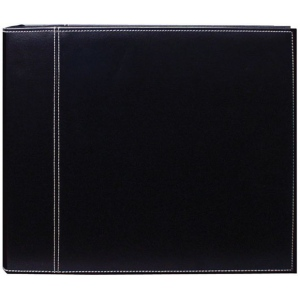 "Pioneer® 12 x 12 3-Ring Scrapbook Binder Black/Black Sewn; Color: Black/Gray; Material: Leatherette; Size: 12"" x 12""; (model TM12BBS), price per each"