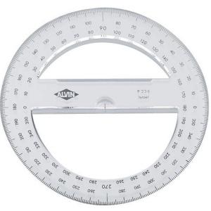 "Alvin® 6"" Circular Protractor: Clear, Polystyrene, 6"", Protractor, (model P236), price per each"