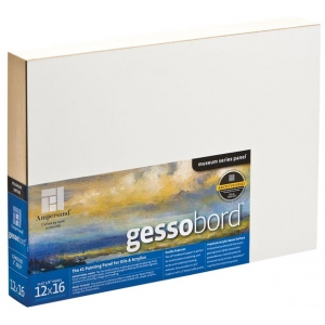 """Ampersand™ Gessobord™ Cradled 16 x 16: White/Ivory, Panel/Board, 16"""" x 16"""", Gesso, (model GBWC1616), price per each"""