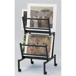 "Heritage Arts™ Print and Poster Holder 22"" x 24"" x 41"": 100 Prints, Black/Gray, Steel, 22""d x 24""w x 41""h, Display, (model PHR200-BK), price per each"