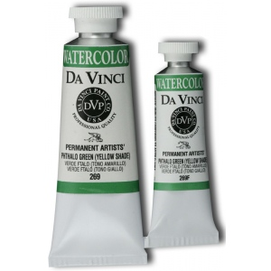 Da Vinci Artists' Watercolor Paint 15ml Phthalo Green Yellow Shade: Green, Tube, 15 ml, Watercolor, (model DAV269F), price per tube