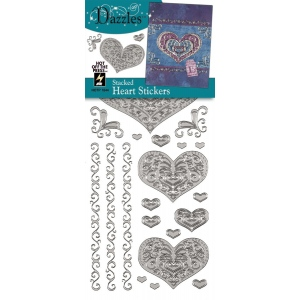 "Dazzles™ Stickers Silver Stacked Heart; Color: Metallic; Size: 4"" x 9""; Type: Outline; (model HOTP1844), price per each"