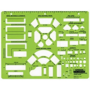 "Rapidesign® Interior Design – Living Room & Dining Room Template: 1/4"" = 1', (model 718R), price per each"