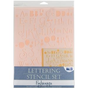 "Blue Hills Studio™ Lettering Stencil Set Fashionista; Scale: 1"", 3/8""; Type: Lettering; (model BHS101SET), price per set"