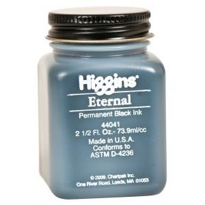 Higgins® Eternal Black Writing Ink; Color: Black/Gray; Format: Jar; Ink Type: Pigment; Size: 2.5 oz; (model SN44041), price per each