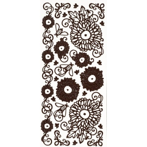 """Dazzles™ Stickers Brown Mums: Brown, 4"""" x 9"""", Outline, (model HOTP2098), price per each"""