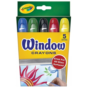 Crayola® Window Crayon 5-Color Set; Type: Window; (model 52-9765), price per set
