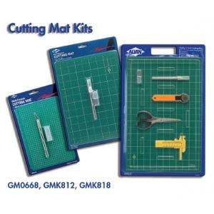 "Alvin® Self-Healing Cutting Mat Kit 12 x 18: Black/Gray, Green, Grid, Vinyl, 12"" x 18"", 3mm, Cutting Mat, (model GMK818), price per set"