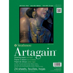 "Strathmore Artagain 400 Series Paper: Glue Bound Pad with Flip Over Covers, Coal Black,  6"" x 9"", Pad of 24 Sheets"