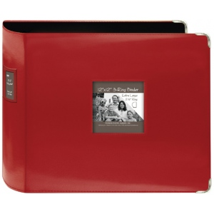 """Pioneer® 12 x 12 xL D-Ring Leatherette Scrapbook Binder Red; Color: Red/Pink; Material: Leatherette; Size: 12"""" x 12""""; (model T12JF/RD), price per each"""