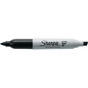 Sharpie® Super Twin Tip Black Permanent Marker; Color: Black/Gray; Double-Ended: Yes; Tip Type: Chisel Nib, Fine Nib; (model SN36201), price per each