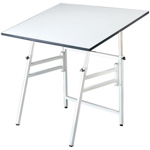 "Alvin® Professional Table White Base White Top 24"" x 36"": 0 - 45, White/Ivory, Steel, 29"" - 45"", White/Ivory, Melamine, 24"" x 36"", (model MODEL X-4-XB), price per each"