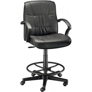 "Alvin® Art Director Executive Leather Chair Drafting Height; Arm Rest Included: Yes; Color: Black/Gray; Foot Ring Included: Yes; Height Range: 24"" - 29""; Seat Material: Leather; (model CH777-90DH), price per each"