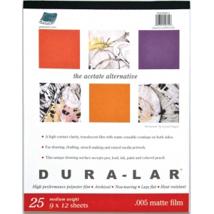 "Grafix® Dura-lar™ 9"" x 12"" Matte Film; Finish: Matte; Format: Pad; Quantity: 25 Sheets; Size: 9"" x 12""; Thickness: .005""; Type: Film; (model DM0912), price per 25 Sheets pad"