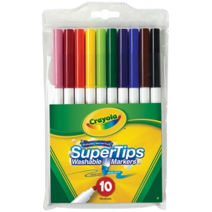 Crayola® Super Tips Washable 10-Marker Set; Color: Multi; Tip Type: Broad Nib, Fine Nib; (model 58-8610), price per set