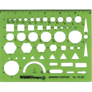 "Alvin® General Purpose Template; Size: 4 7/8"" x 6 1/8"" x .030""; Type: General Purpose; (model TD422), price per each"