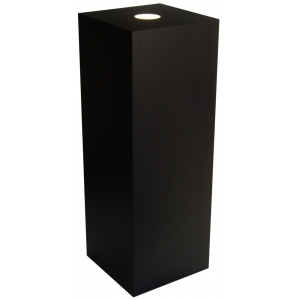 "Xylem Black Laminate Spot Lighted Pedestal: 23"" x 23"" Base, 12"" Height"