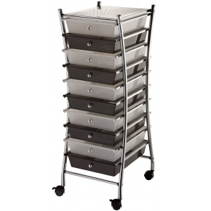 "Blue Hills Studio™ X-Frame Storage Cart 10-Drawer (Standard) Clear/Smoke: Black/Gray, Clear, 13 5/8""l x 9 5/8""w x 5/8""h, Plastic, 10-Drawer, 15""d x 11 1/4""w x 37 1/2""h, (model SC10CSM-X), price per each"