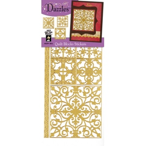"Dazzles™ Stickers Quilt Blocks Gold; Color: Metallic; Size: 4"" x 9""; Type: Flat; (model HOTP1914), price per each"