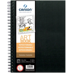"Canson® ArtBook™ Repositionable Illustration Wire Bound Book ; Binding: Wire Bound; Color: White/Ivory; Format: Book; Ink Color: Black/Gray; Quantity: 25 Sheets; Size: 9"" x 12""; Type: Illustration; Weight: 138 lb; (model C200006412), price per each"