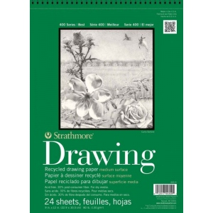 "Strathmore® 400 Series 9"" x 12"" Wire Bound Recycled Drawing Pad: Wire Bound, White/Ivory, Pad, 24 Sheets, 9"" x 12"", Medium, Recycled Drawing, 80 lb, (model ST443-9), price per 24 Sheets pad"