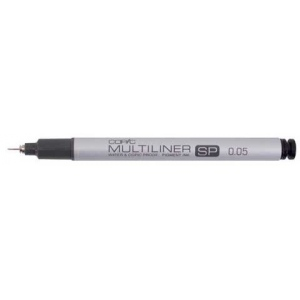 Copic® Multiliner SP (Refillable) Black Pen .05mm; Color: Black/Gray; Ink Type: Pigment; Refillable: Yes; Tip Size: .05mm; Tip Type: Fine Nib; (model MLSP005), price per each