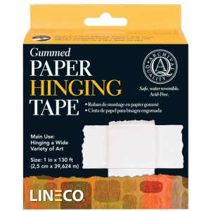 "Lineco® Water-activated Gummed Frame/Hinging Tape: Mounting, 1"", (model L5330751), price per each"
