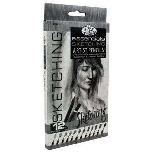 Royal & Langnickel® Essentials™ Essentials™ Sketching Artist Pencil Set; Format: Pencil; Lead Color: Black/Gray; (model SPEN-12), price per set